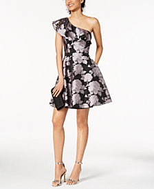 XSCAPE Printed Ruffled Fit & Flare Dress