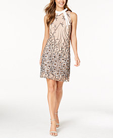 Ivanka Trump Floral Embroidered Tie-Neck Dress