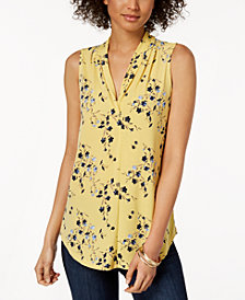 Charter Club Petite Printed V-Neck Top, Created for Macy's