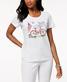 Karen Scott Petite Embellished Bike Graphic Top, Created for Macy's