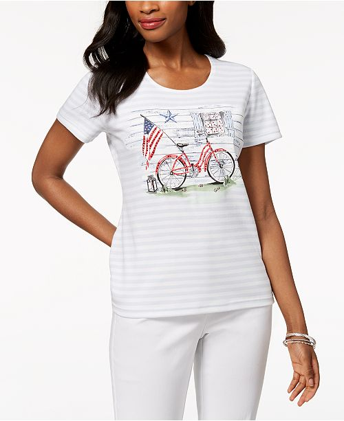 Print Bicycle White Shirt Created Bright Karen Americana for Graphic T Scott Macy's wSFBHI