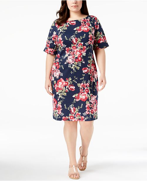 Karen Scott Plus Size Floral-Print Sheath Dress, Created for ...