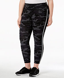 Calvin Klein Performance Plus Size Camo-Print High-Rise Ankle Leggings