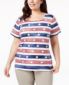 Karen Scott Plus Size Printed T-Shirt, Created for Macy's