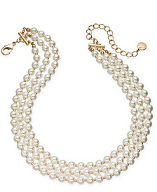 "Gold-Tone Imitation Pearl Triple-Row Choker Necklace, 16"" + 2"" extender, Created for Macy's"