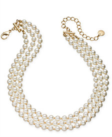 "Charter Club Gold-Tone Imitation Pearl Triple-Row Choker Necklace, 14"" + 3"" extender, Created for Macy's"