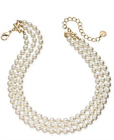 "Charter Club Gold-Tone Imitation Pearl Triple-Row Choker Necklace, 16"" + 2"" extender, Created for Macy's"