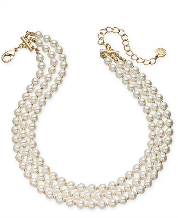 """Charter Club Gold-Tone Imitation Pearl Triple-Row Choker Necklace, 16"""" + 2"""" extender, Created for Macy's"""