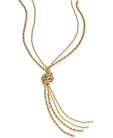 "Charter Club Gold-Tone Double Rope Knotted Lariat Necklace, 32"" + 2"" extender, Created for Macy's"
