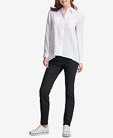 DKNY Linen High-Low Shirt, Created for Macy's