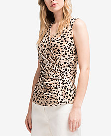 DKNY Leopard-Print Ruched Top, Created for Macy's