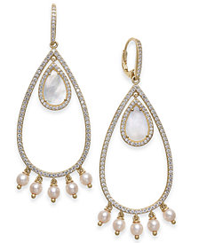 Danori Mother-of-Pearl, Swarovski Imitation Pearl & Pavé Teardrop Drop Earrings, Created for Macy's