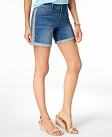 Style & Co Petite Embroidered Cuffed Shorts, Created for Macy's