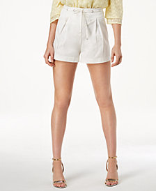 J.O.A. Pleated High-Waist Shorts