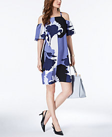 Alfani Petite Printed Cold-Shoulder Dress, Created for Macy's