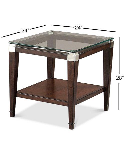 Furniture Silverado Glass Top Rectangular End Table Furniture Macys - Silverado rectangular coffee table