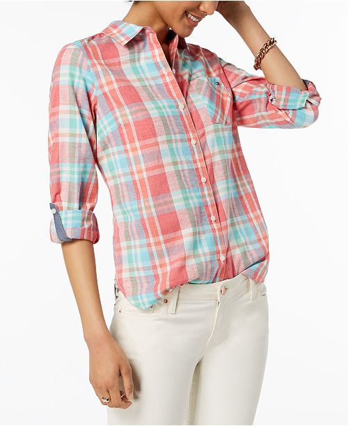 3693a021 Tommy Hilfiger Plaid Shirt, Created for Macy's & Reviews - Tops ...