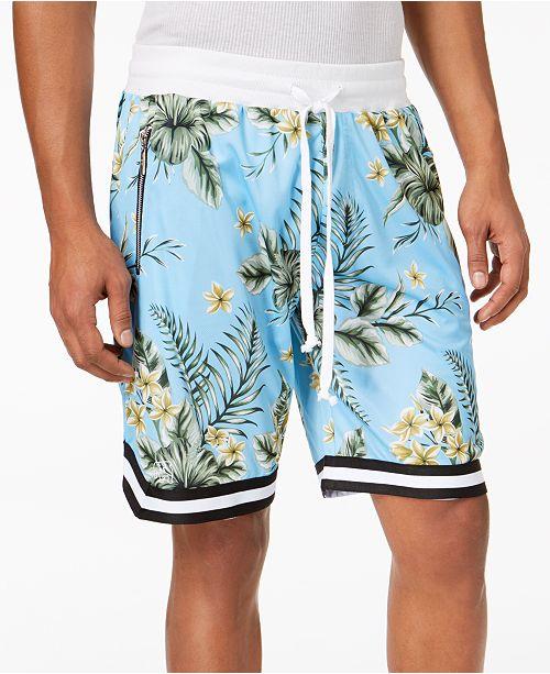 American Stitch Men s Floral-Print Mesh Drawstring Shorts - Shorts ... 2ae2e5eb4