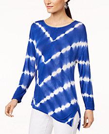 I.N.C. Tie-Dyed Handkerchief-Hem T-Shirt, Created for Macy's