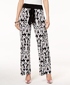 I.N.C. Printed Tie-Waist Pants, Created for Macy's