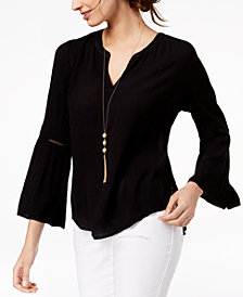 I.N.C. Ladder-Trim Bell-Sleeve Top, Created for Macy's