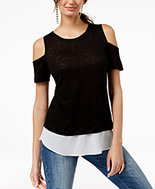 I.N.C. Layered-Look Cold-Shoulder Top, Created for Macy's