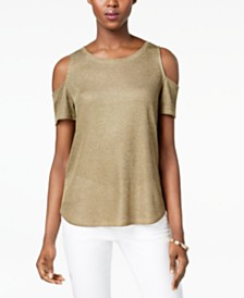 I.N.C. Petite Shiny Ribbed Top, Created for Macy's