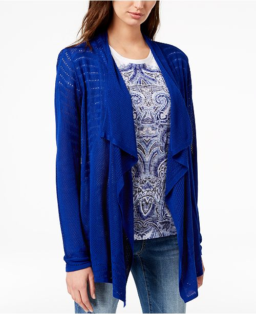 INC Created C N Cardigan International Draped Bright Perforated for I Concepts Macy's Blue ZaZrxq4