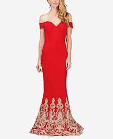 Dancing Queen Juniors' Embellished Off-The-Shoulder Mermaid Gown