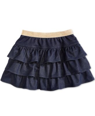 Toddler Girls Ruffled Denim Scooter Skirt, Created for Macy's
