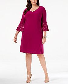 MSK Plus Size Embellished Bell-Sleeve Sheath Dress