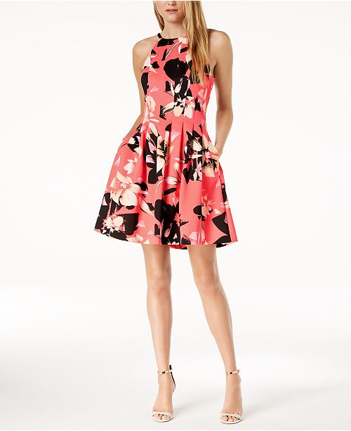 9009186e9777 Vince Camuto Floral Printed Fit   Flare Pocket Dress   Reviews ...