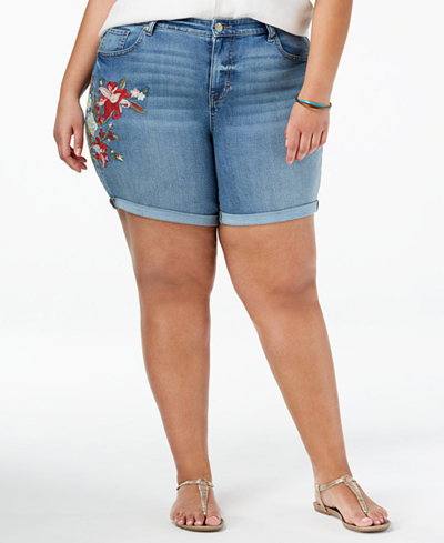 Style & Co Plus Size Embroidered Cuffed Shorts, Created for Macy's