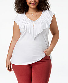 Style & Co Plus Size Ruffled V-Neck Top, Created for Macy's
