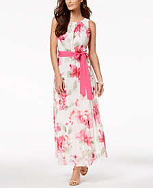 Jessica Howard Petite Belted Floral-Print Maxi Dress
