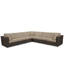 Viewport Outdoor 7-Pc. Modular Seating Set (3 Corner Units and 4 Armless Units), with Custom Sunbrella® Cushions, Created for Macy's