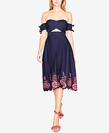 RACHEL Rachel Roy Cotton Off-The-Shoulder Midi Dress