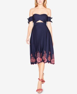 COTTON OFF-THE-SHOULDER MIDI DRESS