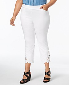 INC Plus Size Lace-Hem Capri Pants, Created for Macy's