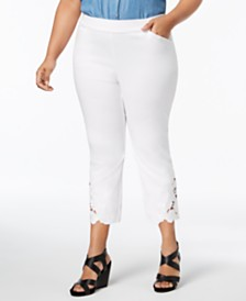 I.N.C. Plus Size Lace-Hem Capri Pants, Created for Macy's