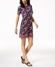 MICHAEL Michael Kors Printed A-Line Dress in Regular & Petite Sizes