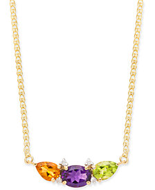 "Multi-Gemstone (2-5/8 ct. t.w.) & Diamond Accent 16"" Pendant Necklace in 14k Gold"