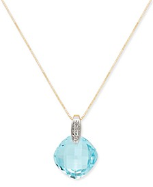 "Blue Topaz (8-3/4 ct. t.w.) & Diamond Accent 18"" Pendant Necklace in 14k Gold"