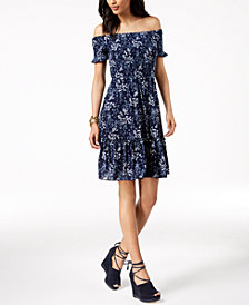 MICHAEL Michael Kors Printed Off-The-Shoulder Dress