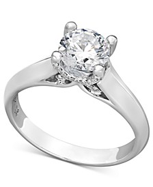 Diamond Solitaire Engagement Ring in 18k White Gold (1-1/4 ct. t.w.), Created for Macy's