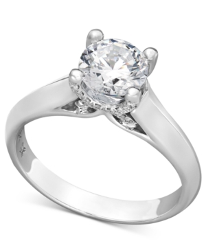 X3 Certified Diamond Solitaire Engagement Ring in 18k White Gold (1-1/4 ct. t.w.), Created for Macy's
