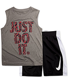Nike Little Boys 2-Pc. Just Do It-Print Muscle Tank & Shorts Set
