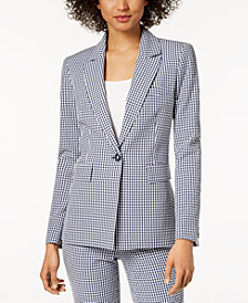 Nine West Gingham-Print Blazer