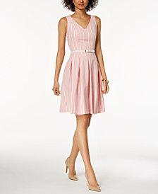 Nine West Belted Striped Seersucker Fit & Flare Dress
