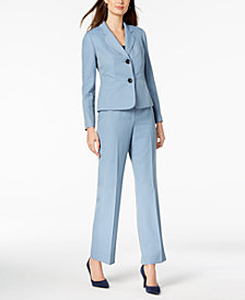 Le Suit Herringbone Striped Two-Button Pantsuit